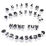 Iaywayii 41pcs Plätzchen Fondant Cutters Set Mini Alphabet Anzahl Mathematische Biscuit Backform mit Aufbewahrungsbehälter aus Edelstahl