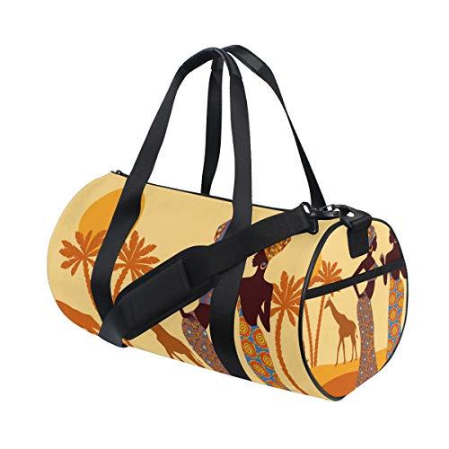 TIZORAX Afrikanische Damen-Sporttasche mit tropischem Giraffen-Elefanten-Motiv, Fitness-Reisetasche, Dachgepäckträgertasche