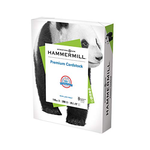 Hammermill White Cardstock, 110 Lb, 8.5 x 11 Colored Cardstock, 1 Pack (200 Sheets) - Thick Card Stock, Made in the USA, 168380R