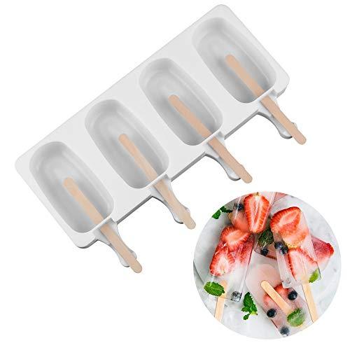 Tamaño: 258 x 146 x 26 mm/215 x 125 x 21 mm. ❀Material: silicona de calidad alimentaria. Incluye: 10 palos. ❀ Ideal para helado, helado de leche, helado de frutas y todo tipo de ideas creativas. ❀Puede utilizarse para la fabricación de helado, puddin...