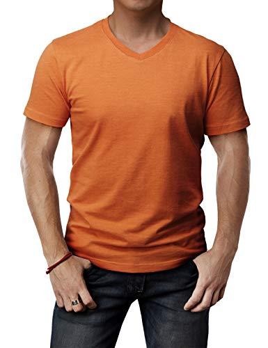 H2H Mens High Elastic Soft Stretchy Top Orange US XL/Asia 2XL (CMTTS0197)
