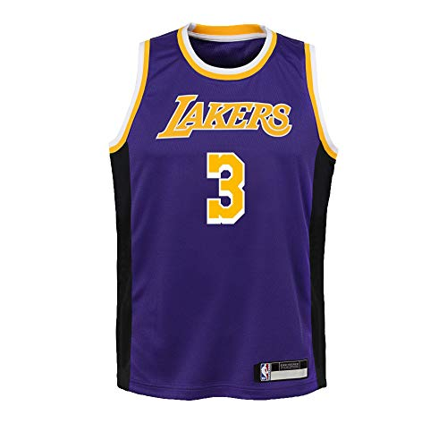NBA Kids 4-7 Official Name and Number Replica Home Alternate Road Player Jersey (5/6, Anthony Davis Los Angeles Lakers Purple Statement Edition)