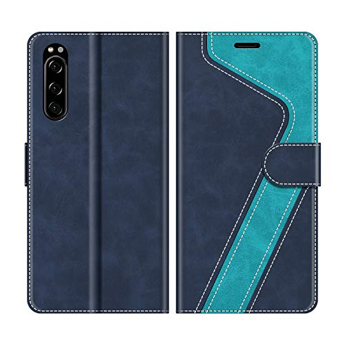 MOBESV Handyhülle für Sony Xperia 5 Hülle Leder, Sony Xperia 5 Klapphülle Handytasche Hülle für Sony Xperia 5 Handy Hüllen, Modisch Blau