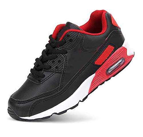Daclay Enfants Chaussures Garçons Filles Sneakers Running Sneaker Exterieur pour Unisexe, Noir/Rouge, 31 EU