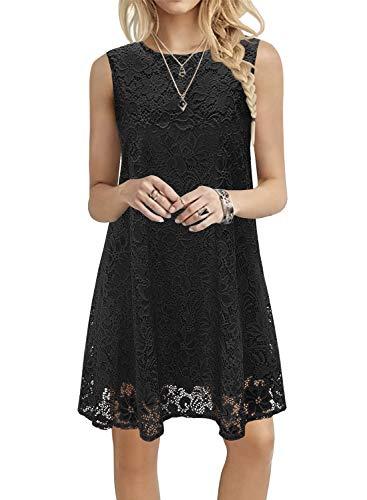 Kikula Spring Dress for Women 2021 Sleeveless Round Neck Lace Summer Dress Mini Flowy Dress