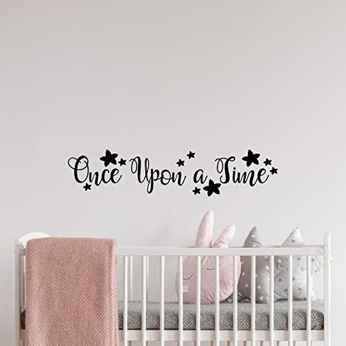 My Vinyl Story - Once Upon a time - Girl Nursery Decor Wall Decal Quote Removable Vinyl Art Decorations Stickers for Children Baby Kids Boy Girl Bedroom Gift 32x7 inches