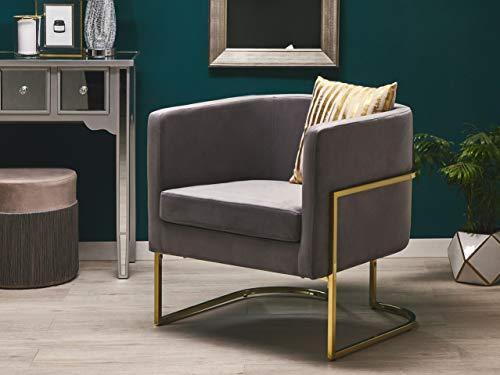 Beliani Halbrunder Sessel aus Samtstoff in Grau Metallgestell in Gold Sirkka
