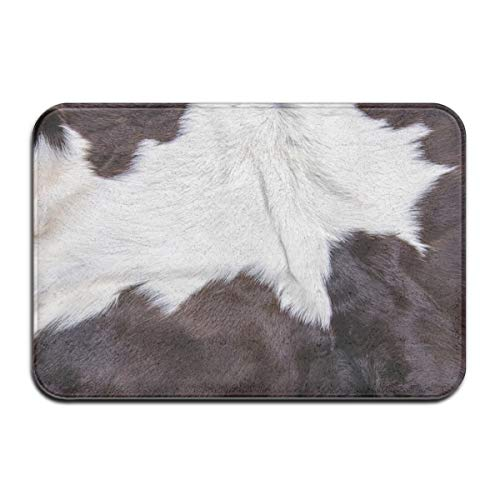 Bath Mat, Texture of Brown Cow Skin Coat with Fur Black White and Brown Spots Plush Bathroom Rug with Non Slip Backing 29.5
