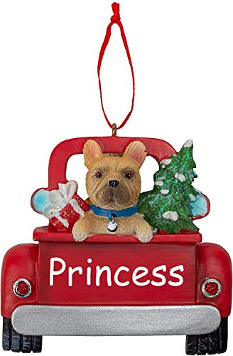 Personalized French Bulldog Puppy Dog in Pick-Up Truck Holiday Christmas Ornament with Custom Name