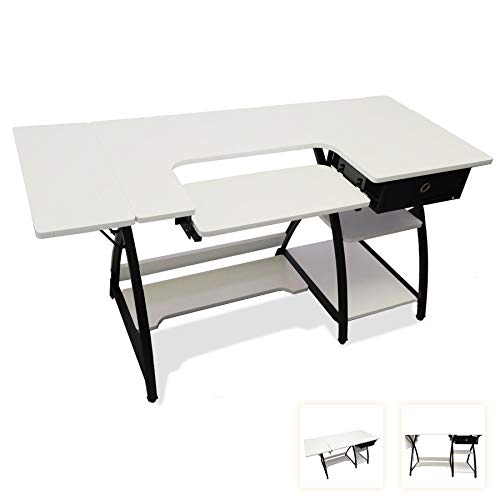 Sewing Craft Table, Adjustable Board and Side Shelf, Art Desk Expandable Workstation with Fabric Drawer and Shelves, Multi Storage, Arched X Frame, Simple White Wood, 57.1×23.6×29.9(inch)