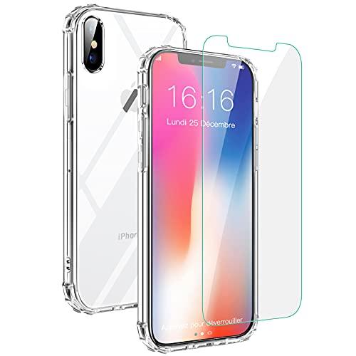 JASBON Coque Transparente pour iPhone X/XS, Coque Anti-Choc avec Verre Trempé Housse de Protection TPU Souple Ultra Léger Ultra Mince Etui pour iPhone 10 et 10S 5.8 Pouces - Crystal Clear