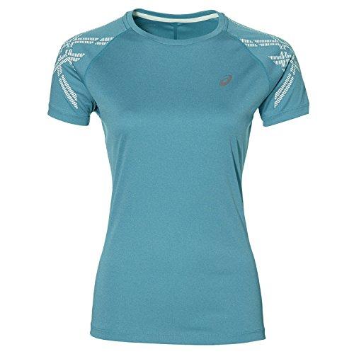 ASICS Stripe SS Top Camiseta, Mujer, Azul, M