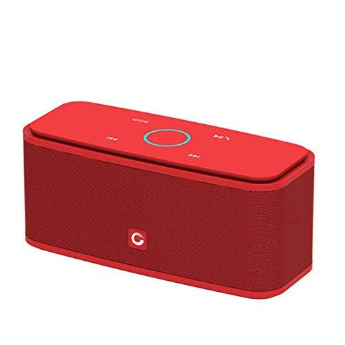 Yeyubh Altavoz Bluetooth Touch 2 * 6W Altavoz portátil inalámbrico, Altavoces estéreo con el bajo y micrófono Incorporado Altavoz USB (Color : Red)