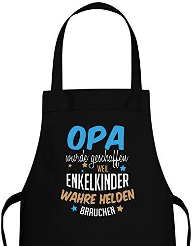 Jayess Opa Schürze Geschenk - Opa wurde geschaffen Weil Enkelkinder wahre Helden brauchen - Küchenschürze Grill-Schürze Geschenke für Opas zum Geburtstag Geschenkideen an Weihnachten