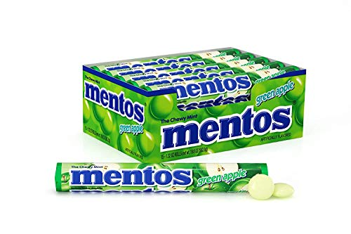 Mentos Chewy Mint Candy Roll, Green Apple, Halloween Candy, Bulk, Party, Non Melting, 1.32 Ounce/14 Pieces (Pack of 15)