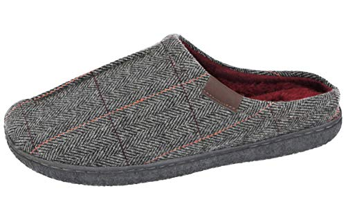 Cushion Walk Mens Herringbone Tweed Faux Fur Lined Slip On Mules Moccasin Slippers Size 7-12 (Grey Mule, Numeric_9)