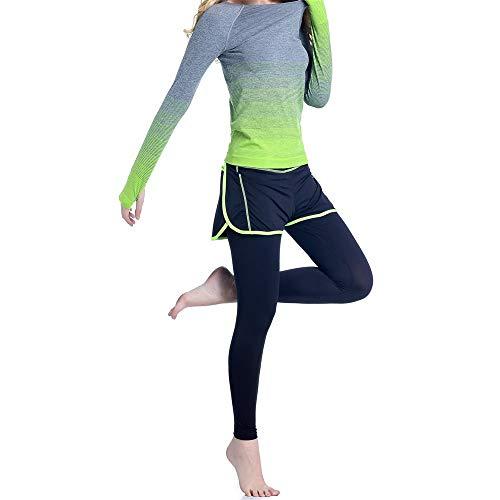 Jklt - Pantalones de entrenamiento para mujer, diseño de gradiente de yoga, falso y de manga larga, ajustados, ropa deportiva de secado rápido, excelente flexibilidad (color: verde, tamaño: M)