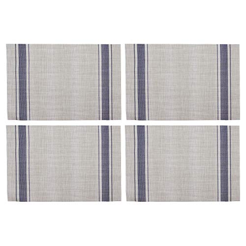 Série 4 sets de table, aspect lin intemporel en beige à rayures bleues, utilisable des 2 cotés, plastique essuyable