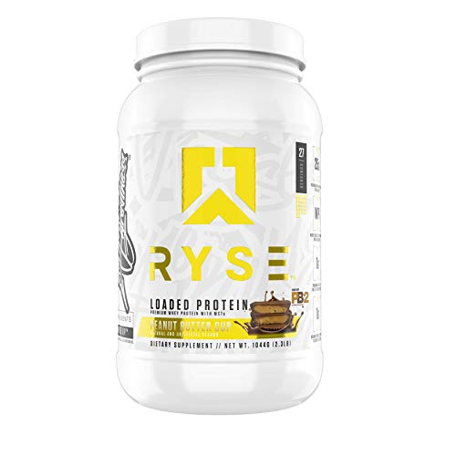 Ryse Loaded Protein   24-25g Premium Whey Protein   MCT Healthy Fats   2 pounds   Organic Prebiotic Fiber   Low Carbs and Low Sugar   Easy Mixing – Amazing Taste (Peanut Butter Cup)