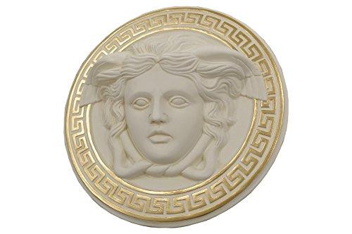 Medusa Wandrelief 3-D Bild Skulpture Büste Relief Griechisches Bild Antikes Bild (Creme-Gold)