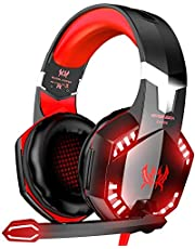 VersionTECH. G2000 Gaming Headset for PC PS4 Xbox One, Gaming Headphones with Noise Cancelling Mic, Volume Control, LED Lights for Mac, Nintendo Switch, Laptop, Ipad Games -Red