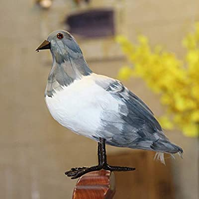 m?kvfa Artificial Gray Pigeon Fake Feather Foam Birds Wedding Family Decor Venue Statue Ornament Hanging Decorations for Displays Crafting Beach