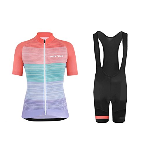 Uglyfrog2018 Neuen Lady Kurzarm Fahrrad Breathable Sommer Damen Fahrradtrikot Outdoor Sports Wear Triathon Rikots & Shirts+Bib Kurze Hosen Sets