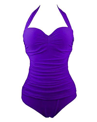 SaiDeng Vintage 50S Increspato Plus Size Costume Intero Costume da Bagno delle Donne Monokini Viola 3XL