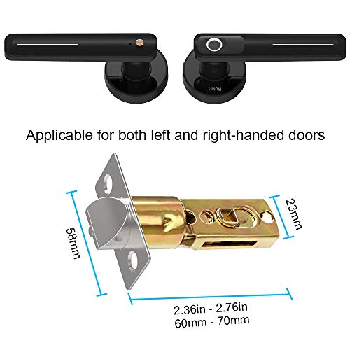 Fingerprint Electric Smart Door Lock, Biometric Keyless Entry Door Handle, Safe Single-Cylinder Door Lock for Family Apartment Office (Black)