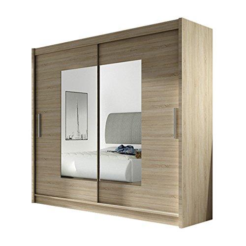Kleiderschrank mit Spiegel London VII, Schwebetürenschrank, Schiebetürenschrank, Modernes Schlafzimmerschrank 180x215x57cm, Garderobe, Schlafzimmer (Sonoma)