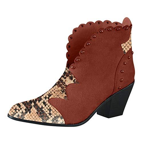 Damen Winterstiefel Damen Pumps Snake Print Plus Size Spitzleder Dicker Absatz Slip On Stiefel Retro Stylisch Basic Ausgehen Warm Boots Braun 43