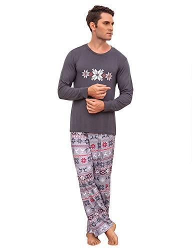 Herren Pyjama Schlafanzug Lang Zweiteilige Nachtwäsche Set Sleepwear aus Baumwolle Langarm O-Aussschnitt mit Lang Hosen Grau S