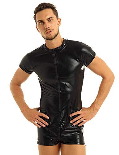 Agoky Herren Bodysuit Wetlook Body Ouvert Boxershorts Unterhemd Stehkragen Dessous Leder Seitlich transparent Männer Overall eng sexy mit Zip Catsuit Schwarz L