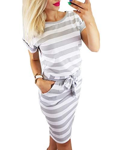 Ajpguot Damen Freizeit Kleid mit Gürtel Elegant Rundhals Midi Kleider Blusenkleider Ballkleid Festkleid Frauen Langarm Tasche Wickelkleider Abendkleider Partykleid (S, Grau 2)