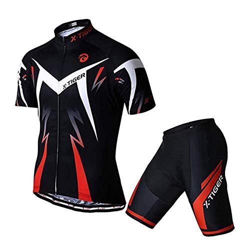 X-TIGER Hombres de Bicicleta Manga Corta Maillots con 5D Acolchado Gel MTB Ciclismo Pantalones Cortos (Rojo,XL)