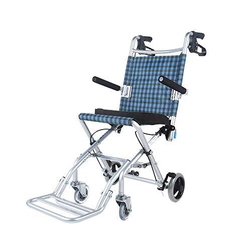 MinMin Manueller Rollstuhl Aluminiumlegierung Leichter faltender Rollstuhl Behinderte ältere tragbare Roller Care Car - Lagergewicht 75kg Medizinische Ausrüstung