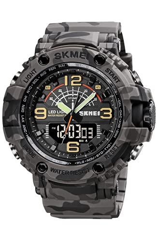 Herren Uhren Militär - 50M Wasserdicht Sport Digitaluhr, Großes Tactical Armbanduhr Herren, Armbanduhr für Männer mit Stoßfest/LED-Licht/Wecker/Stoppuhr