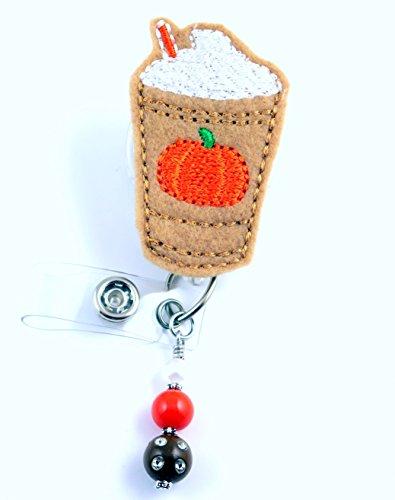 Pumpkin Iced Coffee Latte - Nurse Badge Reel - Retractable ID Badge Holder - Nurse Badge - Badge Clip - Badge Reels - Pediatric - RN - Name Badge Holder