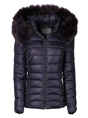 Damen Winter Jacke Parka Mantel Winterjacke Teddyfell gefüttert Fell Kapuze, Farbe:Dunkelblau, Größe:XL