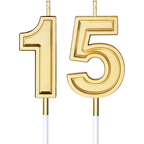 15th Birthday Candles Cake Numeral Candles Happy Birthday Cake Candles Topper Decoration for Birthday Wedding Anniversary Celebration Favor, Gold