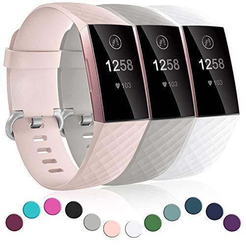 Dirrelo 3 Pack Armbänder Kompatibel mit Fitbit Charge 3/Fitbit Charge 4/Charge 3 SE Armband für Damen und Herren, Sport Verstellbares Ersatzarmband Silikon Uhrenarmband, Rosa+Grau+Weiß S