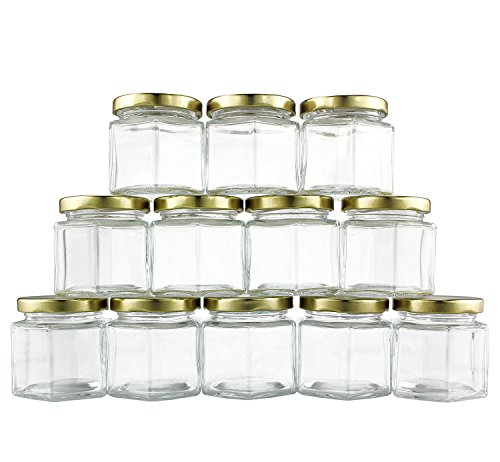 4-Ounce Hexagon Glass Jars (12-Pack), One Dozen 4 Oz Hex Jar Bulk for Party Favors, Preserves, Spices & Kitchen Storage