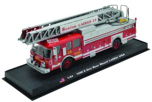 E-One Rear Mount Ladder Boston Fire Truck 1990 Diecast 1:64 Model (Amercom GB-15)