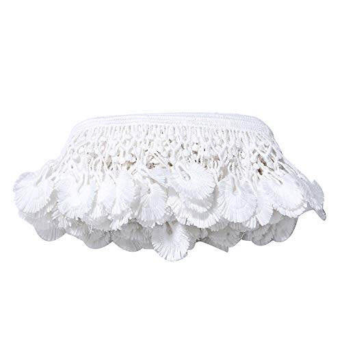 5 Yard Crochet Lace Edge Polyester Trim Ribbon 7 cm Width Vintage Off White Edging Trimmings Fabric Embroidered Applique Sewing Dress DIY Decor Clothes Embellishment