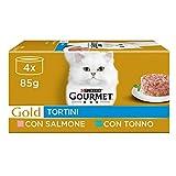Purina Gourmet Gold Umido Gatto Tortini con Salmone, per gatti adulti, con Tonno, 48 Lattine da 85 g Ciascuna, 12 Confezioni da 4 x 85g