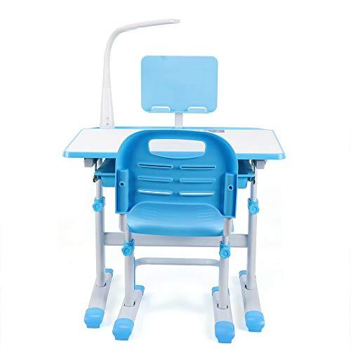 Mesa de estudio escolar ajustable para niños con cajón de almacenamiento (azul)