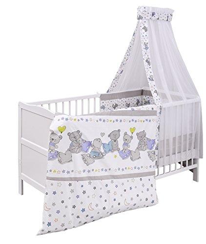Urra Komplett-Kinderbett Luca 70x140 cm Kiefer weiß   teilmassiv   inklusive Bettset 3-teilig   Matratze   Himmelstange   Bärle