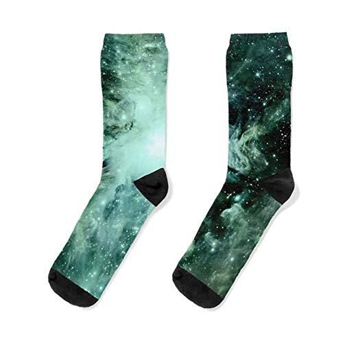 Galaxy Orion Nebula Forest Green Teal Socks Women& Men Sock, Patterned Sock