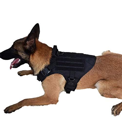 SHI RUI Tactical Military K9 Hundegeschirr Sleuth Polizei Hund Weste Wandern Jagd Molle Training Service Hund Weste, M, schwarz