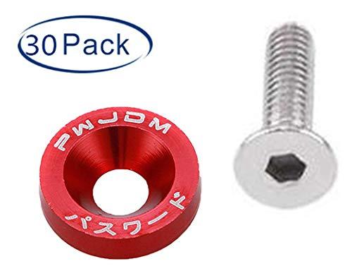 30 Pcs CNC Billet Aluminum Fender Washer Engine Bay Dress Up Kit Red